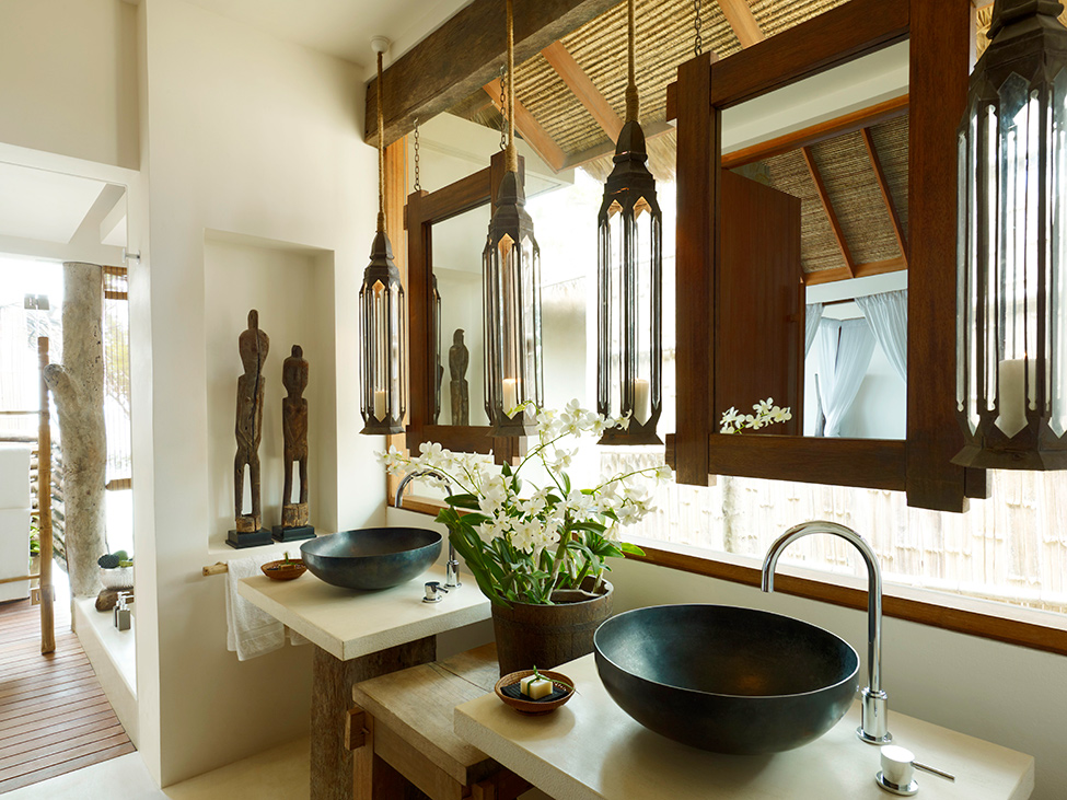 Song Saa : Private Remote Island Resorts In Cambodia: Exquisite Private Remote Island Villa Bathroom Interior Design With Hanging Mirror And Vessel Sink Ideas