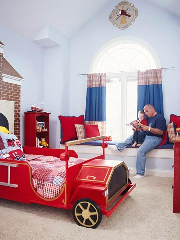 Cool Ways To Decorate A Room: Extinguisher Car Bed Child Roomchamber With Wood Bench Along With Big Pillow