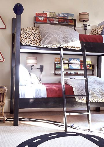 Wonderful Boys Room Design Ideas: Extraodinary Cozy Car Themed Shared Boys Room Iron Bed Two Floors With Iron Staircase With A Small Bookcase On Top And Slimut Warm And In Addition There Is A Large Sofa ~ stevenwardhair.com Bedroom Design Inspiration