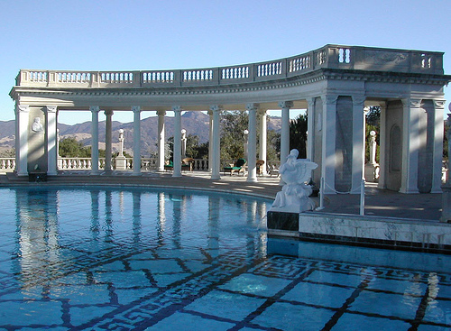 Remarkable Appealing Exterior and Interior Decorations For Beautiful Swimming Pool: Extraordinary Classical Greek Roman Artistic Mansions Design With Remarkable Pools Design And Great Stone Floor Ideas