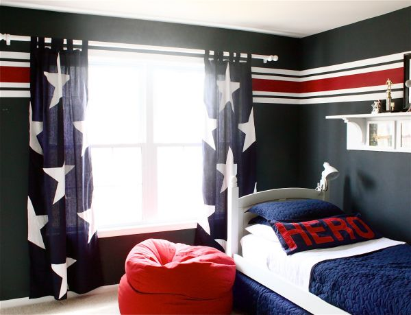 Astonishing Blue Decoration Color For Boys Bedroom Design Ideas : Extraordinary Decoration Blue Color For Boys Bedroom Design Accent Fabrics Stars Stripes And A Sense Of Patriotism Coupled Pleasing Aesthetics Bay Window