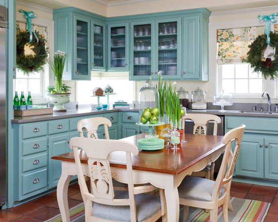 Inspirative White Feather Wreaths: Extraordinary Farmhouse Kitchen White Feather Wreaths Floor And White Formica Countertop Cute Kitchen Nice Table And Chairs Wreaths Hung At Windows