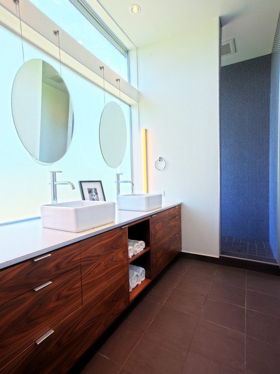 Hanging A Fabulous Bathroom Mirror : Extraordinary Midcentury Bathroom Hanging A Bathroom Mirror Light To Bathroom With Dark Floors And Counter And Dark Tile On Walls Frosted Glass Wall For The Bathroom