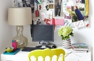 Polished Interesting And Functional Home Office Design : Extraordinary Polished Eye Catching And Functional Small And Pretty Home Office For Any Room With Simple Desk And Yellow Chair With Picture Frame And Rading Lamp