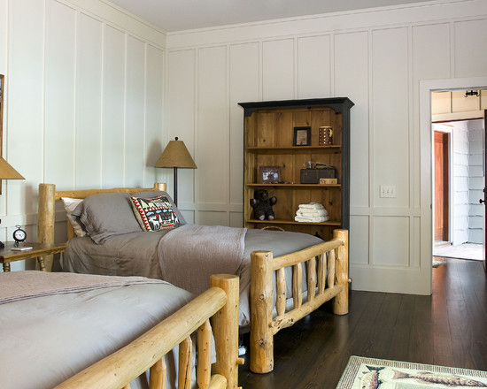 Cozy Wall Paneling Styles: Extraordinary Rustic Bedroom Wall Paneling Styles Another Sample Of Paneled Walls In White Guest Cabins Beds Floors Walls Painted Neutral Which Gives Off A Timeless Texture To The Room
