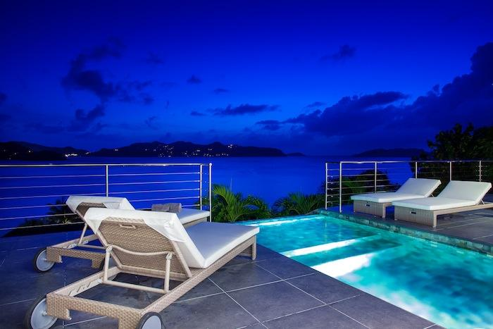 Calming Exquisite Pool In A Modern House Overlooking The Sea: Extravagant Mirande Villa Pointe Milou Night Pool Overlooking Ocean Of Modern House Overlooking The Sea