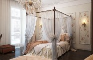 Flaunt Your Bedrooms with Decorative Canopy Beds (part-2) : Fabulous Romantic Vintage Bedroom Features A Sophisticated Canopy Beds With Translucent Curtains And Crystal Chandelier