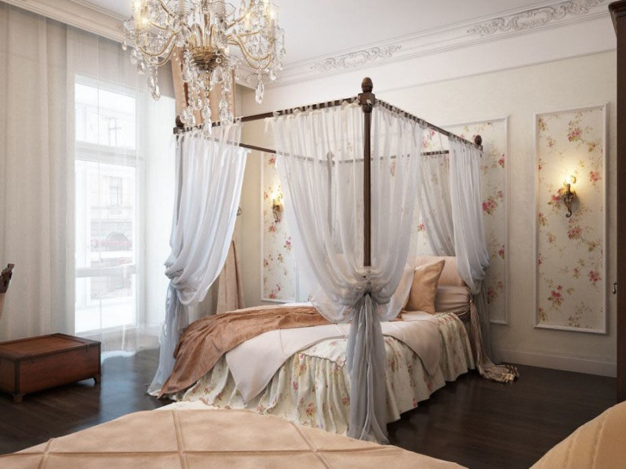 Flaunt Your Bedrooms with Decorative Canopy Beds (part-2): Fabulous Romantic Vintage Bedroom Features A Sophisticated Canopy Beds With Translucent Curtains And Crystal Chandelier