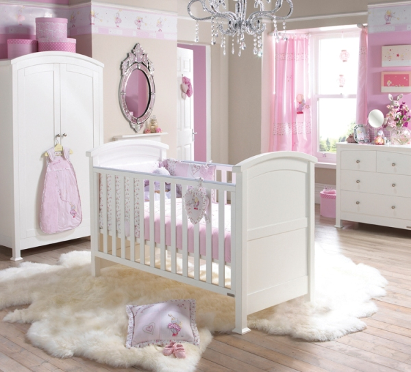Stunning White Theme Baby bedroom Furniture Concept: Fabulous Stunning White Theme Baby Bedroom Furniture Design Ideas Nursery Decor Cute Baby Furniture Pink Curtain Nice Pendant
