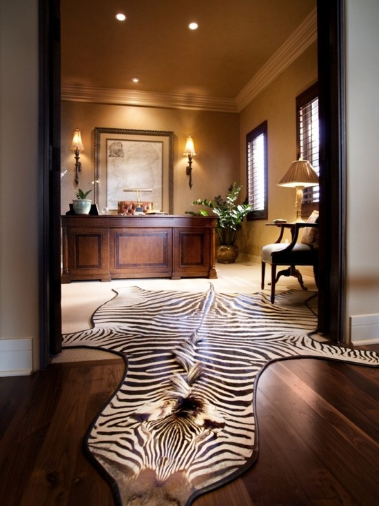 Old Fashion Captivating Home Office Design Ideas: Fantastic Elegant Stylish And Dramatic Masculine Home Offices With Animal Print Rug With Vintage Working Desk And Wonderful Pendant With Parquet Floor Design ~ stevenwardhair.com Bookshelves Inspiration