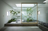 Fascinating Wooden Japanese Bathroom Deign For Relaxation : Fantastic Gorgeous Zen Styled Japanese Bath In Glass With Amusing Marble Floor And And Stone Decoration