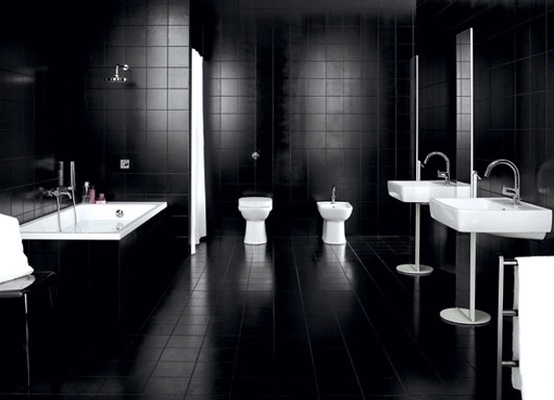 Black Bathroom Design Ideas For Adult: Fantastic Gothic Interior Design Black Bathroom Design Ideas With Black Stone Wall And Floor With Closet Bathup And Washbasin ~ stevenwardhair.com Bathroom Design Inspiration