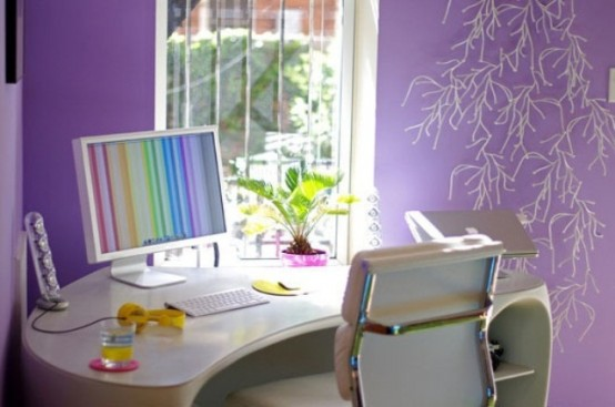 Bright Decoration for Home Office Ideas To Your Workspace : Fascinating Glamour Home Office Decor To Bring Spring To Your Home Office Purple Theme With Simple Fantastic Tables And Chairs With Cool Light Color Wallapaper