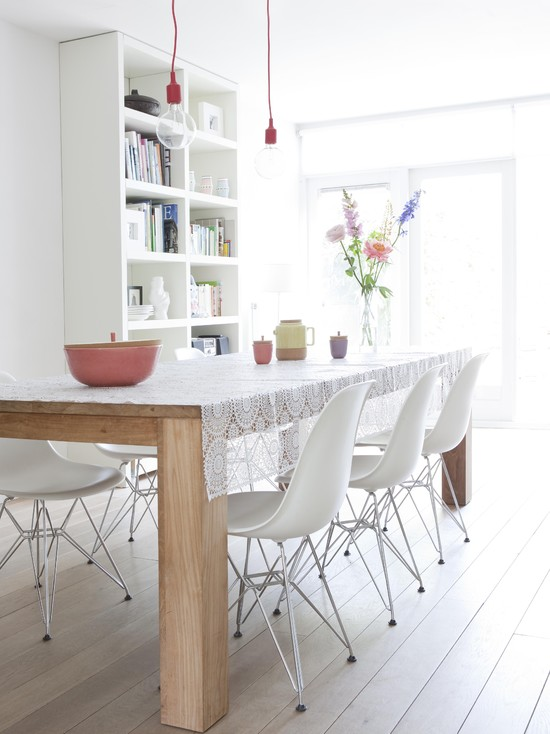 Picture Of Dining Room Table Linen Hangers: Fascinating Modern Dining Room Table Linen Hangers With Lovely Table Cloth With White Chairs And Wooden Table Draping Your Table In A Sheer Lacy Fabric