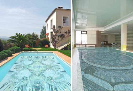 Astounding Mosaic Glass Decoration for Adorable Swimming Pool Design: Fascinating Swimming Pool Design With Mosaic Glass Tiles And Harmony With Nature Original Swimming Pool Decorations ~ stevenwardhair.com Chairs Inspiration