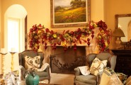 Beautiful Pictures of Mantels Decorated Special For Christmas : Fascinating Traditional Family Room With Christmas Tree Ornaments And Two Vintage Chairs And Classic Fireplace
