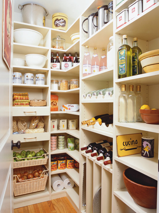 Awesome Pantry Shelves Designs: Fascinating Traditional Kitchen White Simple Pantry Shelves Designs For Many Stuff And Wine Rack