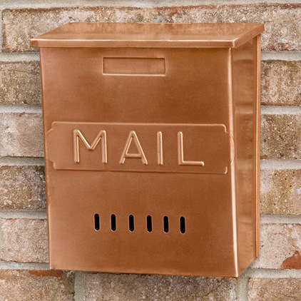Miscellaneous Fence Mounted Mailbox : Fascinating Traditional Vertical Mail Wall Mount Solid Copper Mailbox Features A Classic Mail Imprint On Its Front