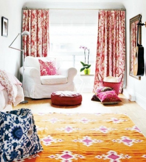 Fashionable Contemporary Bold Colored Decor Awesome Living Room Design : Fashionable Contemporary Bold Colored Living Room Design With Bright Light A Large Window Antique Tea Table And Slipper Chairs With Vintage Rug