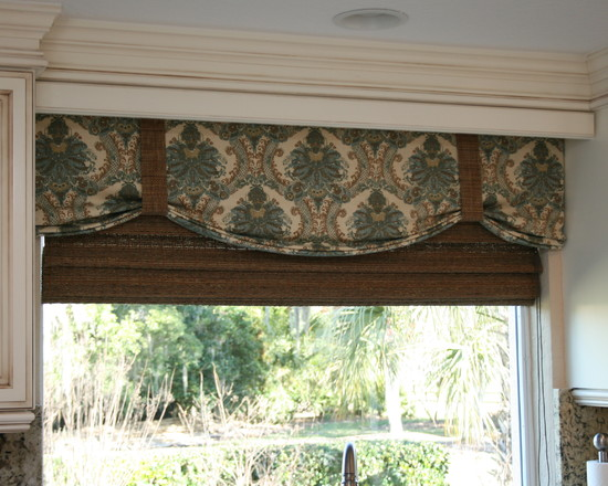 Amazing Kitchen Window Valances : Faux Shade For Kitchen With Valance Behind Wood Trim And Over Woven Blind And Bamboo Shade Behind The Valance