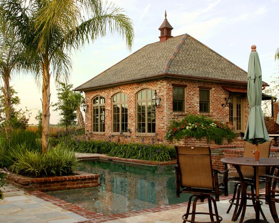 Color Options of Brick For Homes: Feucht Estate Garden Traditional Patio Salvaged Brick Andflagstone And Quartzite Around The Pool And Dark Windows Cupola With Spike