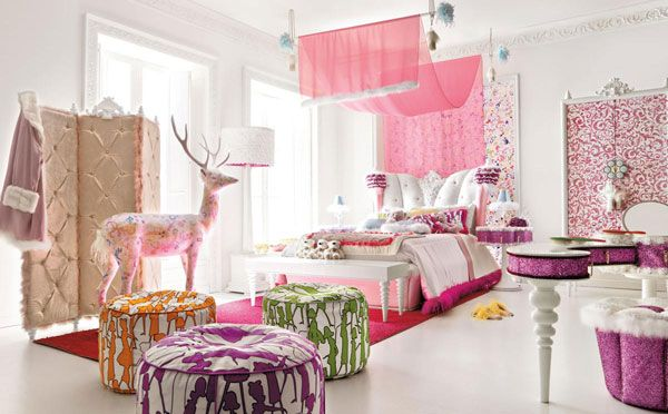Pink and green girls bedroom ideas: Fluffy Glamorous Girl Bedroom Big Round Puff Velvet Sketchel