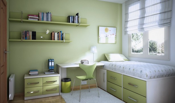 Room color ideas for teenage girls: Friendly Restful Clean Simple Small Airy Sunny Lime Green Daybed Drawers Desk Painted Wall Teen Room ~ stevenwardhair.com Basement Inspiration