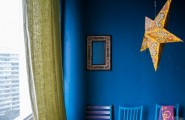 Funny Personalized Loft Design : Funny Personalized Loft With Wall Interior Using Picture Wall And Yellow Plastic Star Hanging O The Wall With Painted Blue Wall With Abstract Curtain