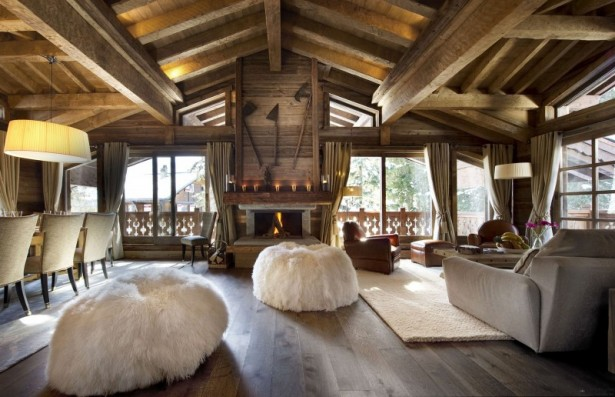 Breathtaking Cozy Resort For Your Family Holiday: Fur Rug Fireplace Wooden Ceiling Curtains Glasses Sliding Doors ~ stevenwardhair.com Interior Design Inspiration