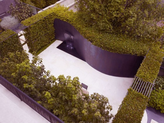 Outdoor Design Ideas: Beautiful Backyard Design For Your Home: Futuristic Backyard Designs Inspirations With Water Curved Garden From Bird View