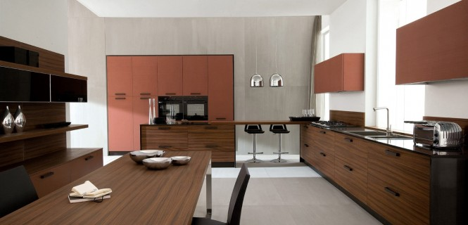 Futuristic Italian Kitchen With an Additional Modern Touch: Futuristic Italian Kitchen With Brown Cabinets Wooden Counter Wooden Dining Table Black Chair Steel Lamp