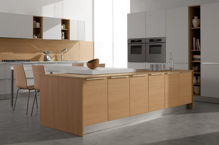 Futuristic Italian Kitchen With an Additional Modern Touch: Futuristic Italian Kitchen WithWhite Cabinets Wooden Backsplash Wooden Kitchen Island Wooden Chaors