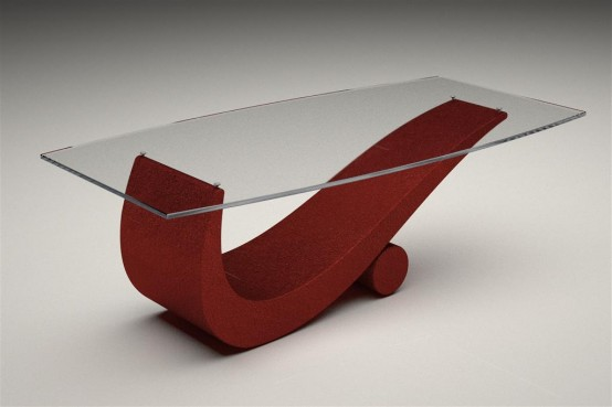 Coffee and Dining Tables with Transparent Glass: Futuristic Modern Glass Top Coffee And Dining Tables With Red Colored Bases And Transparent Glass1