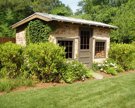 Oustanding Wood Shed Ideas: Garden Wall As Back Of Shed At Traditional Garage With The Tin Roof Brick And Trim
