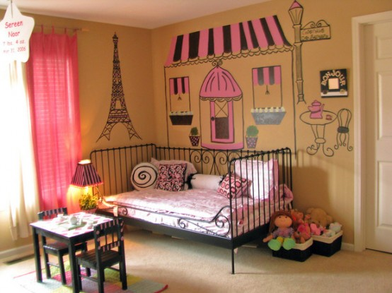 Genius Ways To Decorate Kids Rooms According To Their Favorites: Genius Ways To Decorate Kids Rooms According To Their Favorites Eiffel Tower With Tea Table And Framed Beds And Coffee Shop Picture Wallpaper And Curtain