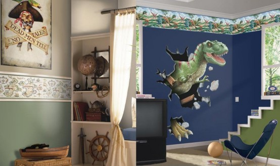 Genius Ways To Decorate Kids Rooms According To Their Favorites : Genius Ways To Decorate Kids Rooms According To Their Favorites With Dinosaurs Picture Wallaper Study Desks To Closets To Covered Storage With Curtain
