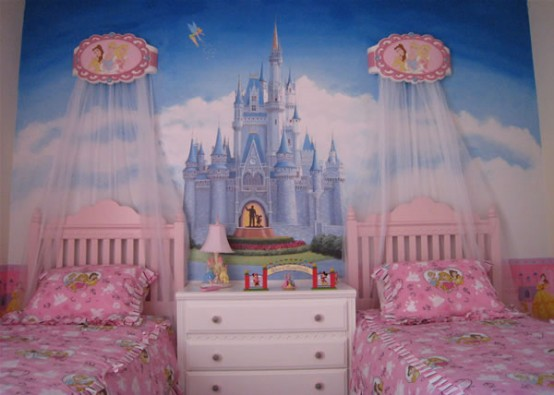 Genius Ways To Decorate Kids Rooms According To Their Favorites: Genius Ways To Decorate Kids Rooms According To Their Favorites With Sleeping Beauty Wallaper And Study Desks To Closets To Covered Painted Storage