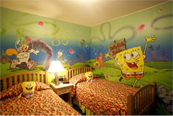 Genius Ways To Decorate Kids Rooms According To Their Favorites: Genius Ways To Decorate Kids Rooms According To Their Favorites With Sponge Bob And Double Beds Study Desks To Closets And Small Lamp With Picture Wallpaper