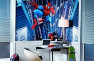 Genius Ways To Decorate Kids Rooms According To Their Favorites : Genius Ways To Decorate Kids Rooms According To Their Favorites With Study Desks With Spiderman Wallpaper And Two Tall Window And Floor Decor