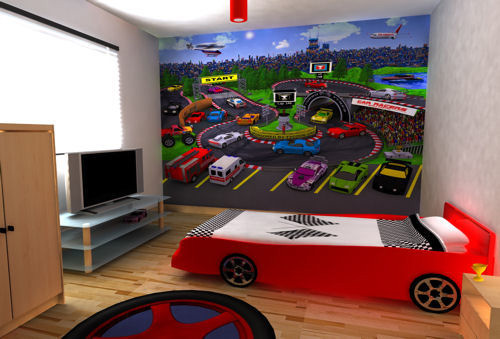 Genius Ways To Decorate Kids Rooms According To Their Favorites: Genius Ways To Decorate Kids Rooms Themed With Their Favorites With Racing Cr Themed Complete Study Desks To Closets To Covered Storage And Racing Wallpaper
