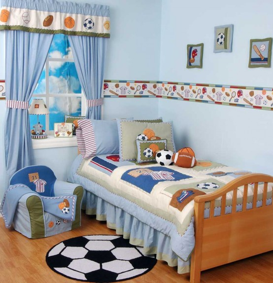 Genius Ways To Decorate Kids Rooms According To Their Favorites: Genius Ways To Decorate Kids Rooms With Their Favorites With Study Desks To Closets To Covered Storage With Big Ball Painted On The Parquet And Wall Decor