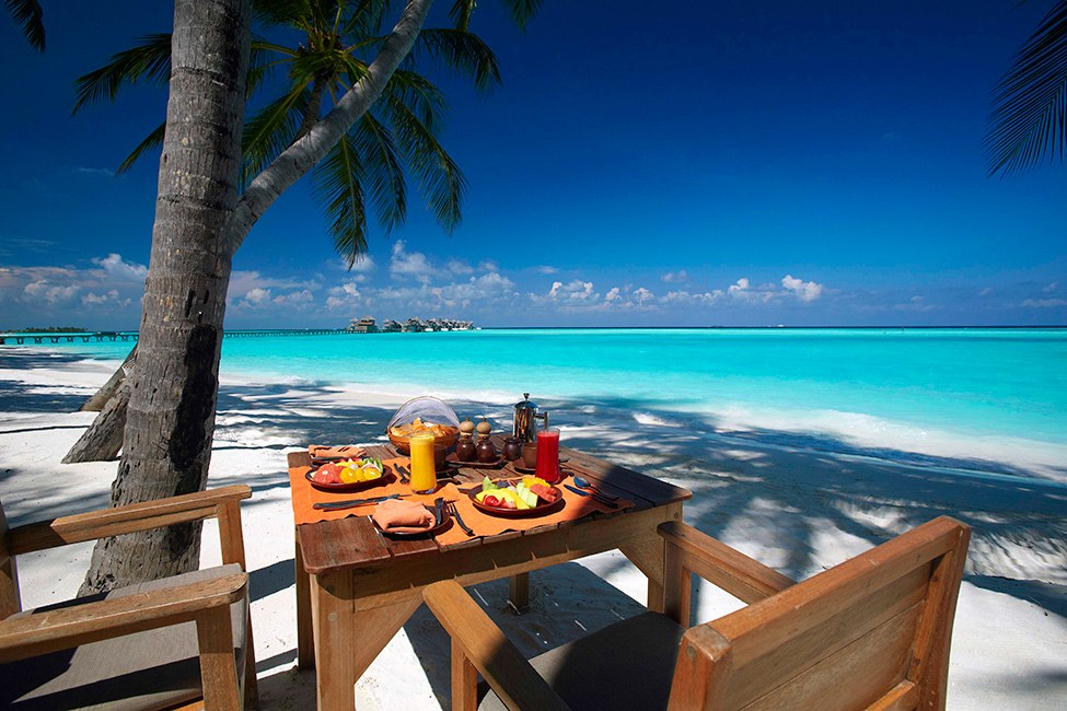 Amazing Exclusive Resort In Maldives: Gili Lankanfushi : Gili Lankanfushi Resort Breakfast Outdoor Design With Table Chairs Beach Coconut Tree Ideas