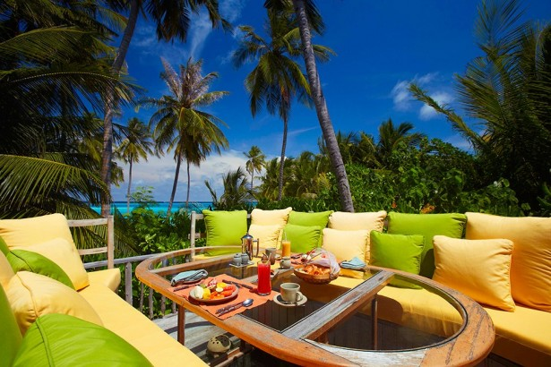 Amazing Exclusive Resort In Maldives: Gili Lankanfushi: Gili Lankanfushi Resort Outdoor Dining Area Design With Unique Glass Table Sofa Cushions Beach Surrounding Tropical Tree Ideas ~ stevenwardhair.com Bed Ideas Inspiration