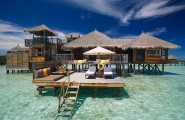 Amazing Exclusive Resort In Maldives: Gili Lankanfushi : Gili Lankanfushi Resort Villa Exterior Design With Sun Bathing Deck Lounge Chair Cushions Unbrella Stairs Ideas