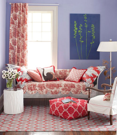Remarkable Living Room Decoration For Small Family: Girly Pinky Themes Living Room Design With Old Fashion Sofa With Reading Lamp And Colorful Carpet And Pillow With Small Light Desk And Picture Wall  ~ stevenwardhair.com Bookshelves Inspiration
