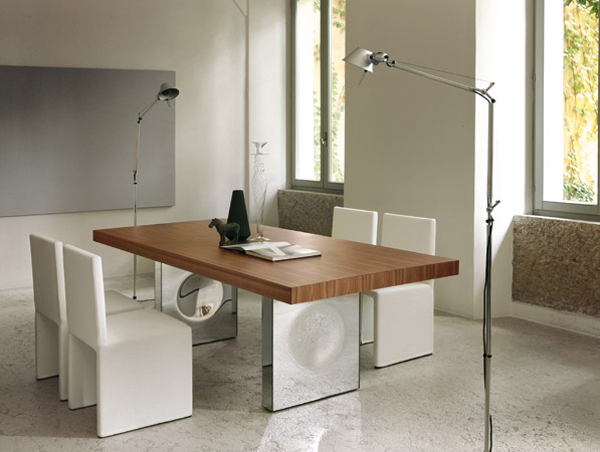 Picture Of Awesome Modern Dining Table Design: Glamorous And Luxurious Modern Dining Table With Beautiful Solid Walnut Wood Surface And Mirror Base Support Design Ideas ~ stevenwardhair.com Chairs Inspiration