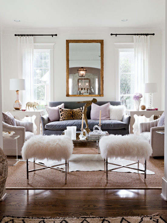 Extraordinary Fur Area Rug At Home : Glamorous Contemporary Living Room White Furry Area Rugs