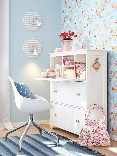 Mesmerizing Office Decor Ideas: Glamorous Home Office Decor With Terrific Spotted Office Desk Interior With Simple Chair And White Teak Wood Desk And Small Cute Vases With Parquet Shabby Chic Romantic Meet Modern ~ stevenwardhair.com Bookshelves Inspiration