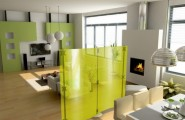 Glass And Metal Modern Room Dividers Ideas : Glamorous Modern Room Dividers Fluowall With Solid Yellow Colored Glass Screens To Intricate Designs To Separate Living Room And Dining Room