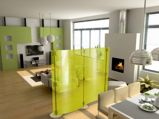 Glass And Metal Modern Room Dividers Ideas: Glamorous Modern Room Dividers Fluowall With Solid Yellow Colored Glass Screens To Intricate Designs To Separate Living Room And Dining Room